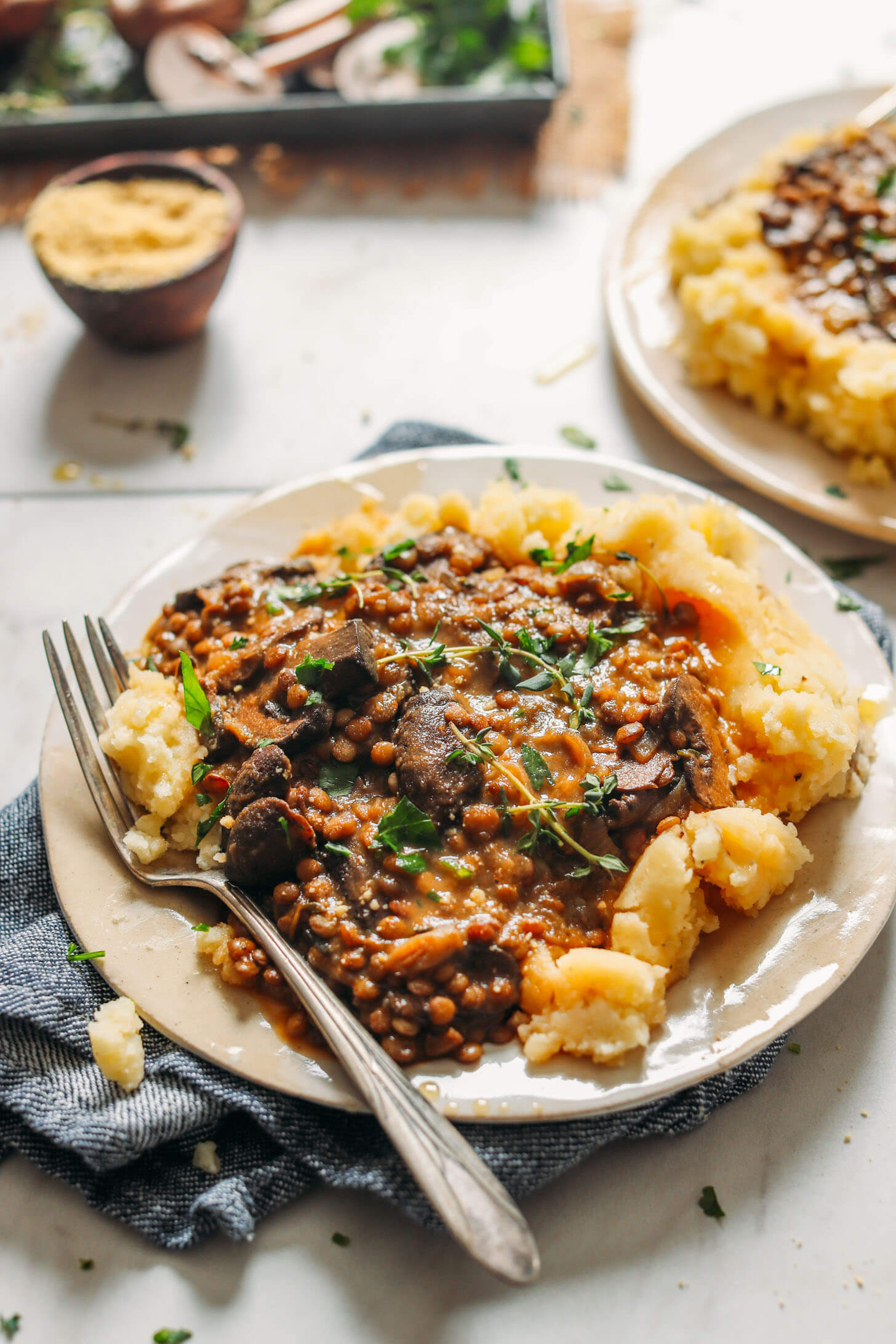 Lentil Mushroom Stew with Mashed Potatoes